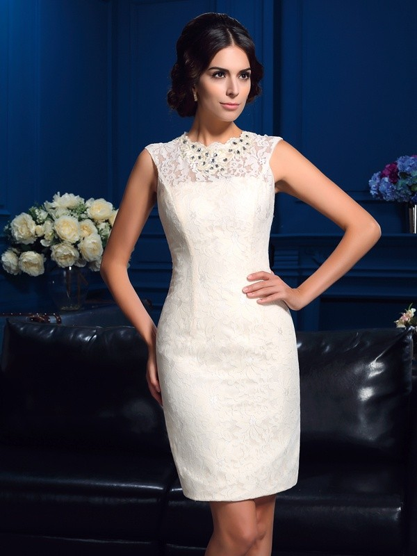 Sheath/Column Jewel Lace Sleeveless Short/Mini Mother of the Bride Dresses