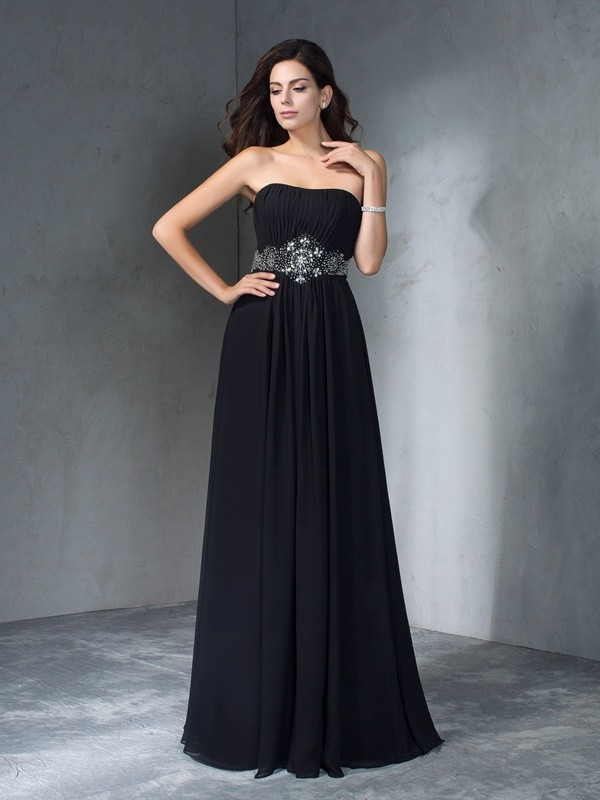 A-Line/Princess Strapless Chiffon Sleeveless Floor-Length Prom Dresses