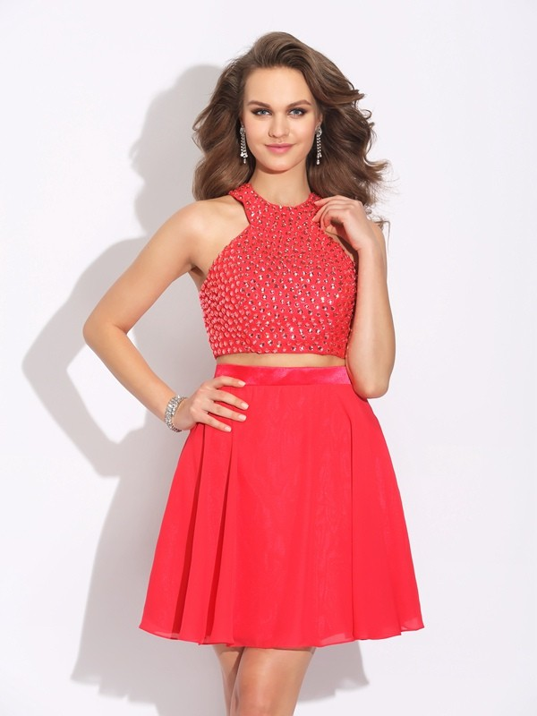 A-Line/Princess Jewel Chiffon Sleeveless Short/Mini Two Piece Dresses