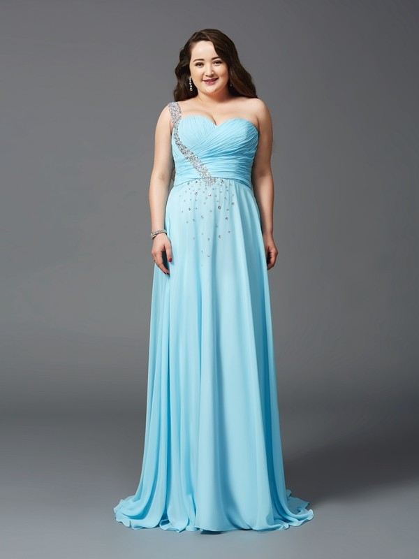 A-Line/Princess One-Shoulder Chiffon Sleeveless Sweep/Brush Train Prom Dresses