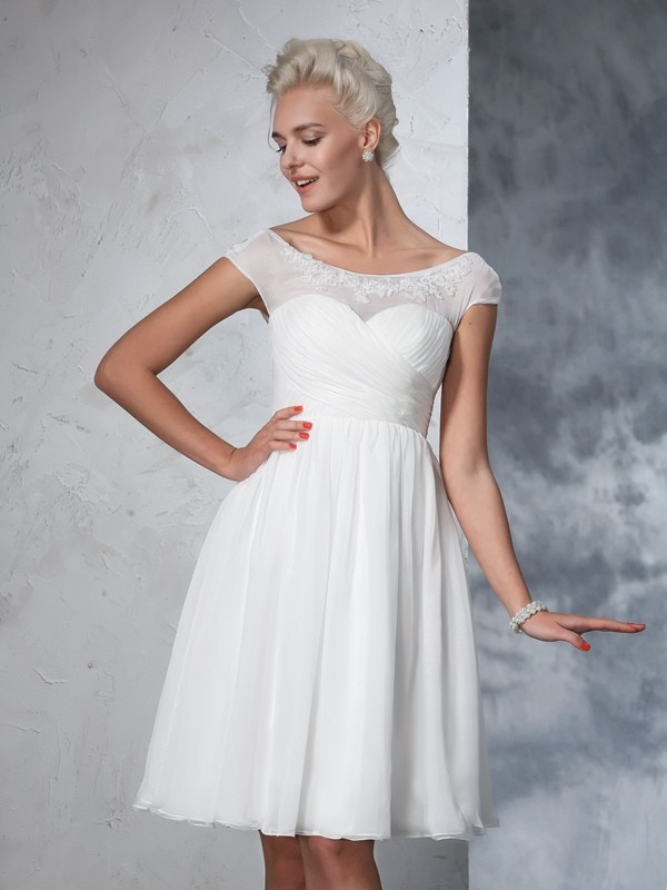 A-Line/Princess Sheer Neck Chiffon Short Sleeves Knee-Length Wedding Dresses