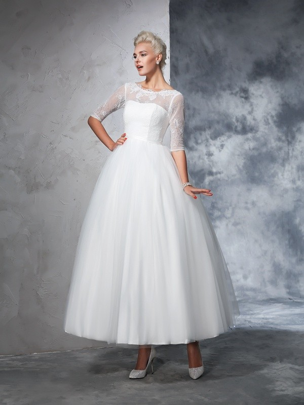 Ball Gown Bateau Net 1/2 Sleeves Ankle-Length Wedding Dresses