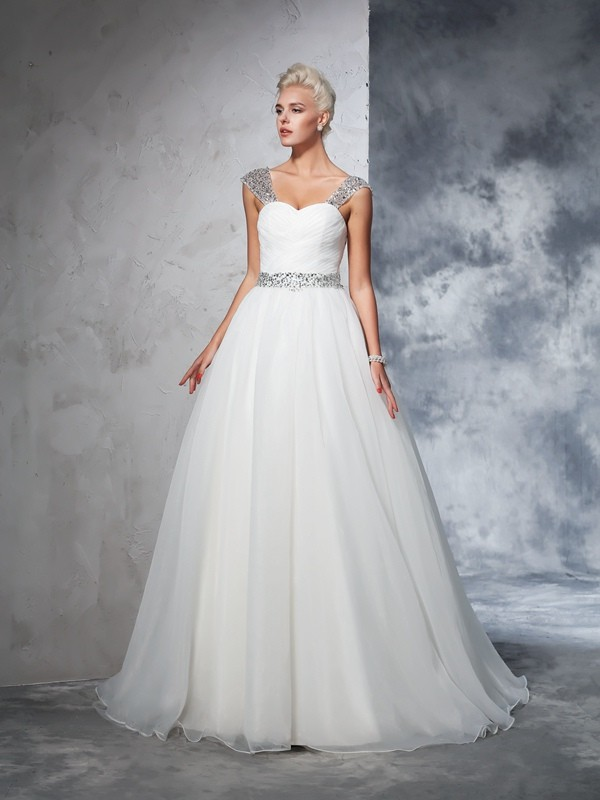 Ball Gown Straps Net Sleeveless Chapel Train Wedding Dresses