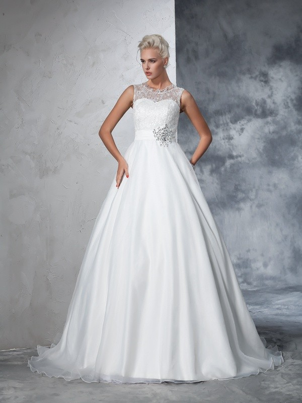 Ball Gown Sheer Neck Net Sleeveless Chapel Train Wedding Dresses