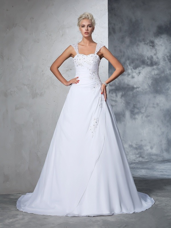 Ball Gown Straps Chiffon Sleeveless Court Train Wedding Dresses