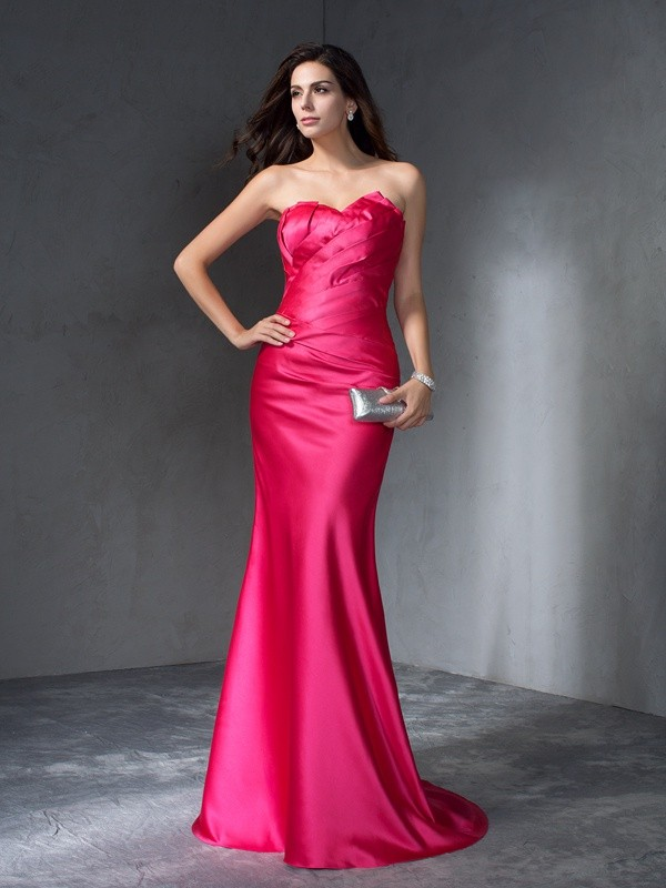 Trumpet/Mermaid Sweetheart Satin Sleeveless Sweep/Brush Train Evening Dresses