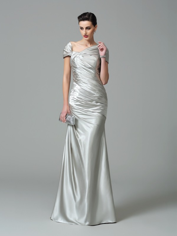 Sheath/Column Off the Shoulder Silk like Satin Sleeveless Floor-Length Evening Dresses