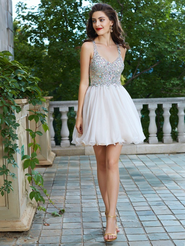 A-Line/Princess Straps Chiffon Sleeveless Short/Mini Homecoming Dresses