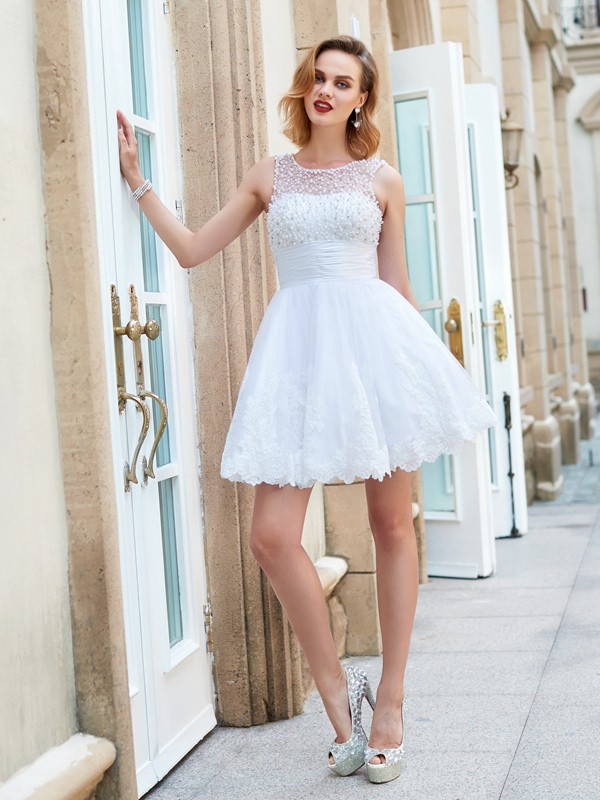 A-Line/Princess Jewel Lace Sleeveless Short/Mini Homecoming Dresses