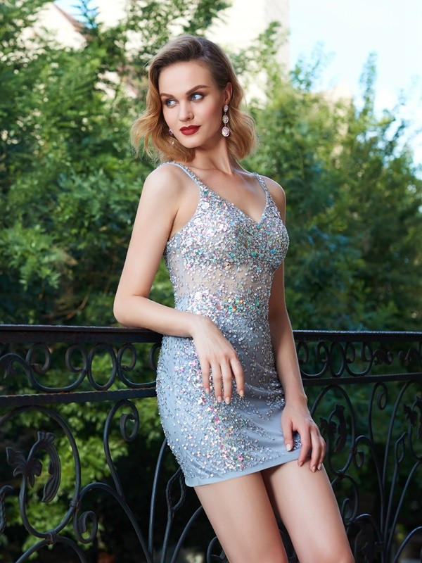 c03f03319ac Sheath Column Spaghetti Straps Net Sleeveless Short Mini Homecoming Dresses