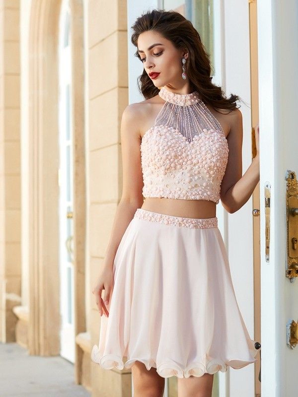 79ce35dca1cdb A-Line Princess Halter Chiffon Sleeveless Short Mini Two Piece Homecoming  Dresses