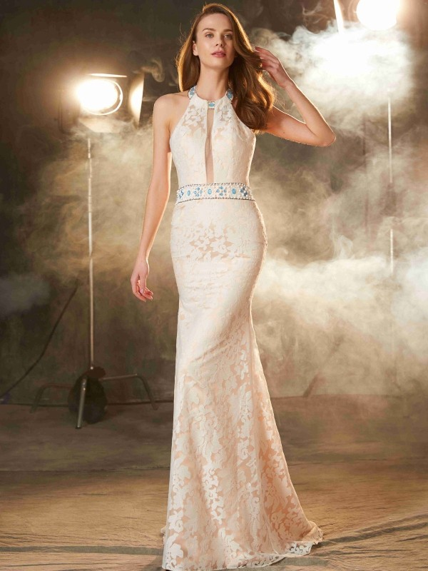 Sheath/Column Halter Lace Sleeveless Floor-Length Prom Dresses