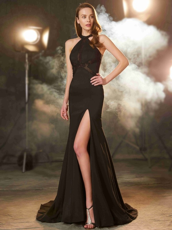 Sheath/Column Jewel Elastic Woven Satin Sleeveless Sweep/Brush Train Prom Dresses