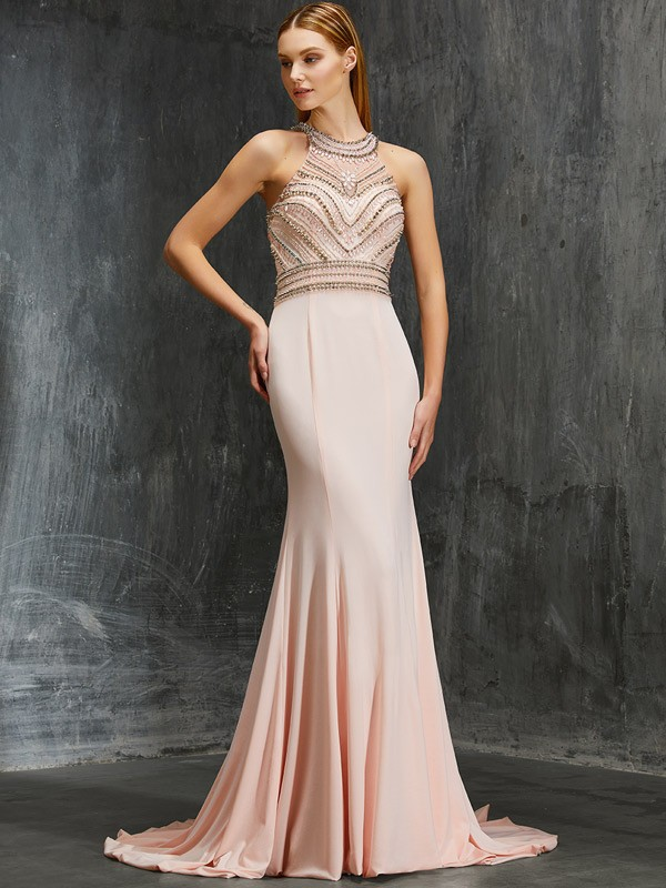 Sheath/Column Scoop Spandex Sleeveless Sweep/Brush Train Prom Dresses