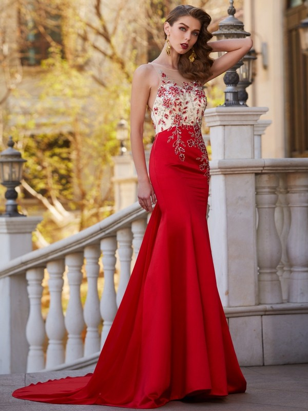 Trumpet/Mermaid Sheer Neck Stain Sleeveless Court Train Prom Dresses