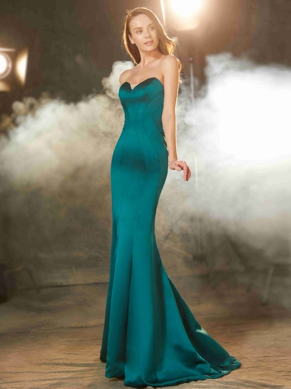 Trumpet/Mermaid Sweetheart Satin Sleeveless Sweep/Brush Train Prom Dresses