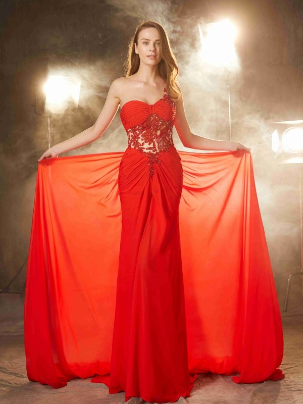 Sheath/Column One-Shoulder Chiffon Sleeveless Sweep/Brush Train Prom Dresses