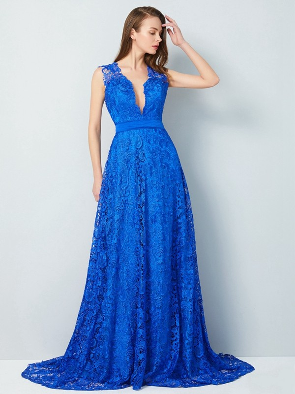 A-Line/Princess V-neck Lace Sleeveless Sweep/Brush Train Prom Dresses