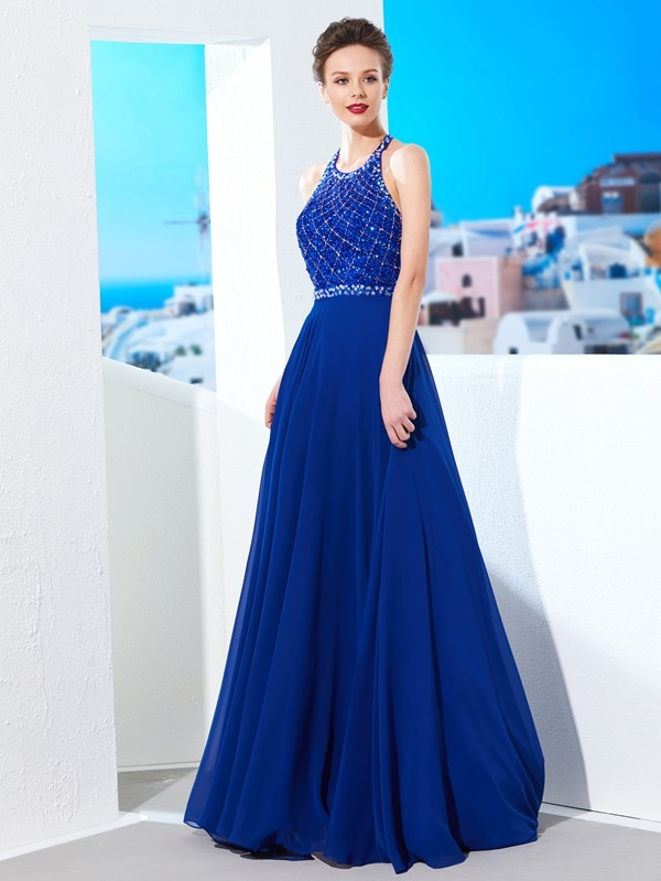 A-Line/Princess Jewel Chiffon Sleeveless Sweep/Brush Train Prom Dresses