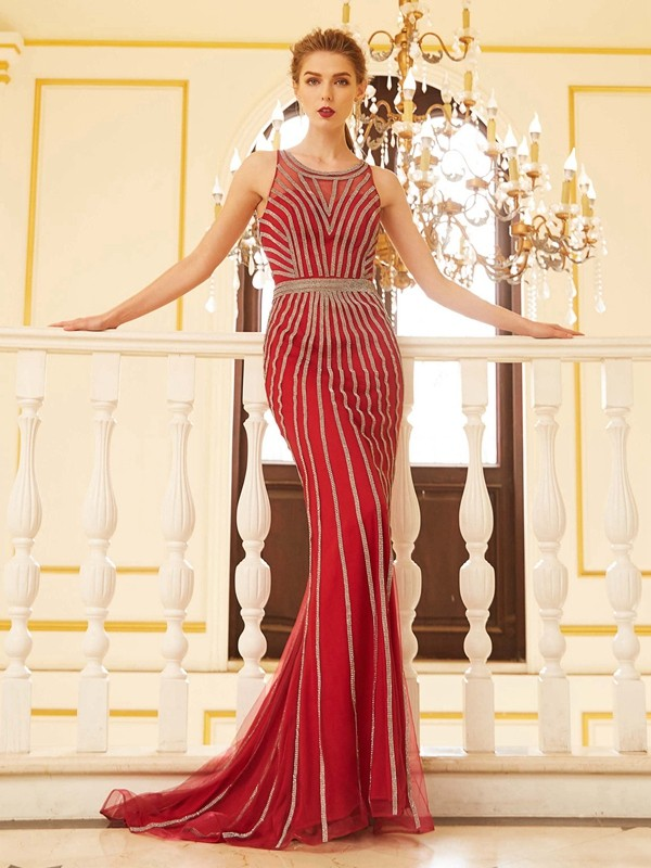 Sheath/Column Scoop Net Sleeveless Sweep/Brush Train Prom Dresses