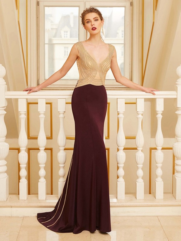 Sheath/Column Straps Jersey Sleeveless Sweep/Brush Train Prom Dresses