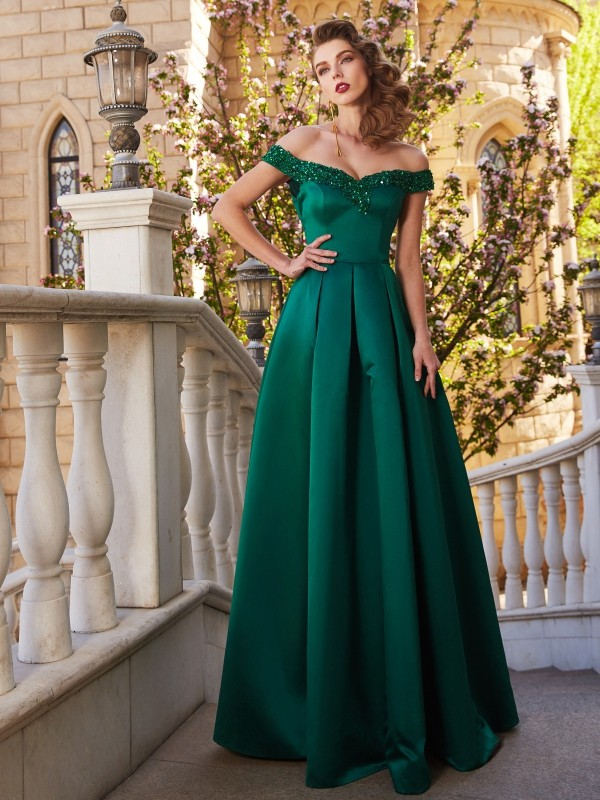 A-Line/Princess Off-the-Shoulder Satin Sleeveless Floor-Length Prom Dresses