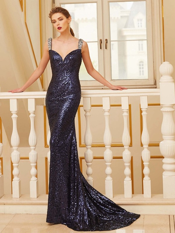 Sheath/Column V-neck Sequins Sleeveless Sweep/Brush Train Prom Dresses