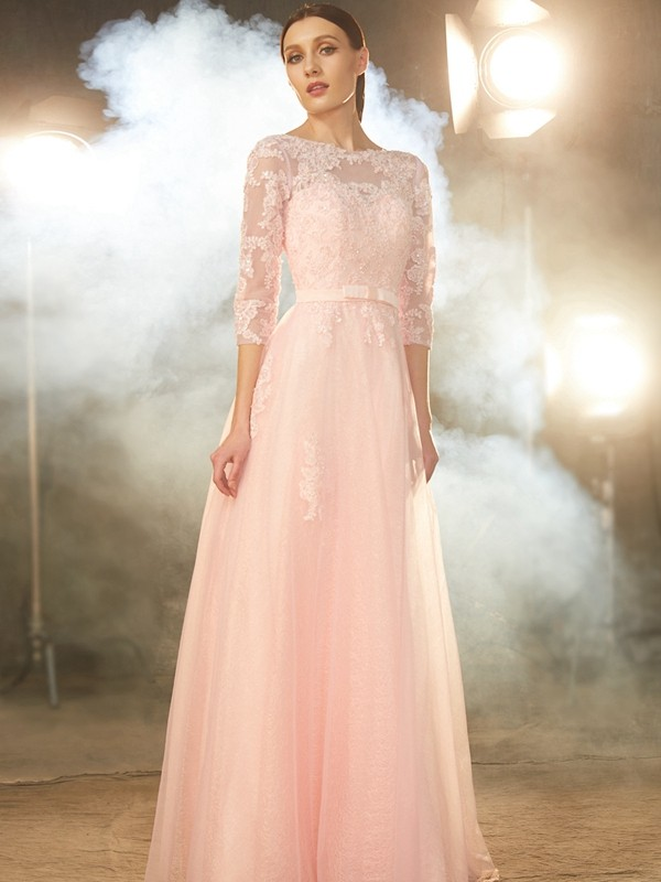 A-Line/Princess Bateau Tulle 1/2 Sleeves Floor-Length Prom Dresses