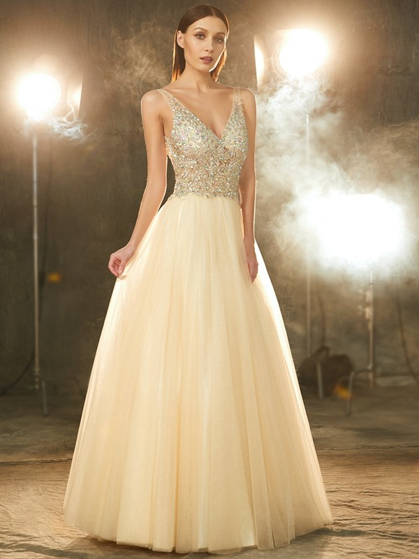 Ball Gown V-neck Tulle Sleeveless Floor-Length Prom Dresses