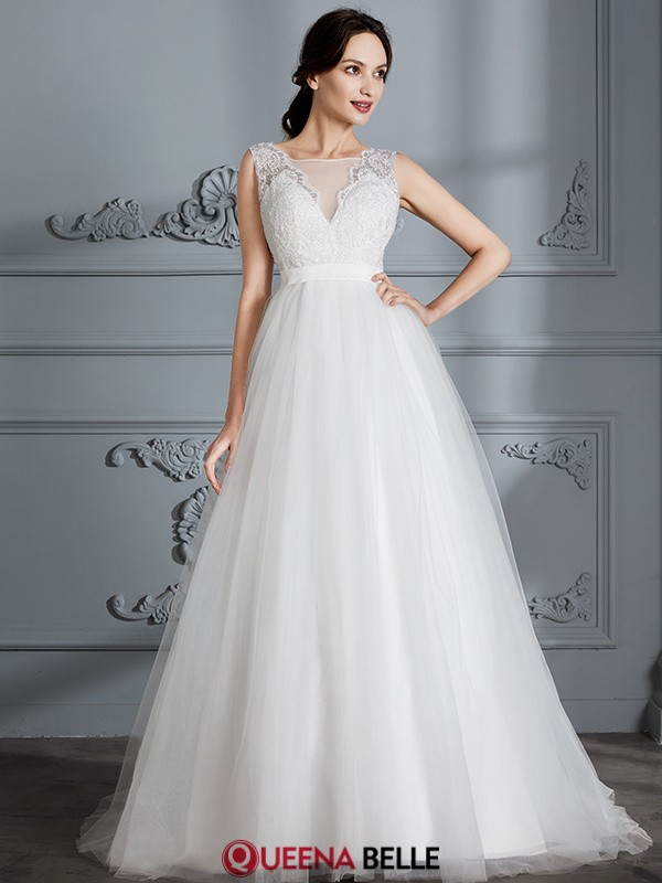 4fb1ccff1ca A-Line Princess V-neck Tulle Sleeveless Sweep Brush Train Wedding Dresses