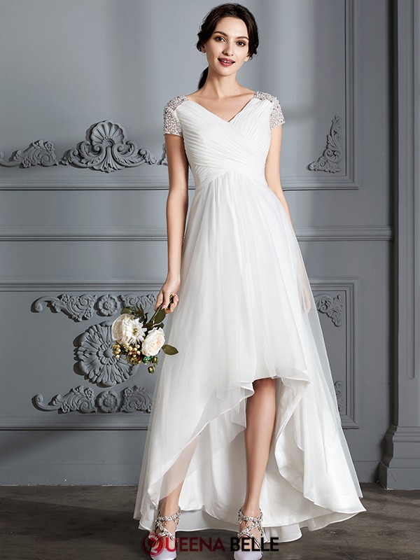 A-Line/Princess V-neck Tulle Short Sleeves Asymmetrical Wedding Dresses
