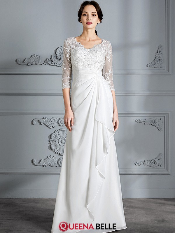 Sheath/Column V-neck Chiffon 3/4 Sleeves Floor-Length Wedding Dresses