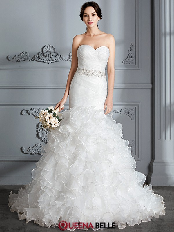 Trumpet/Mermaid Sweetheart Satin Sleeveless Sweep/Brush Train Wedding Dresses