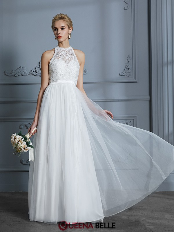 A-Line/Princess Scoop Tulle Sleeveless Floor-Length Wedding Dresses