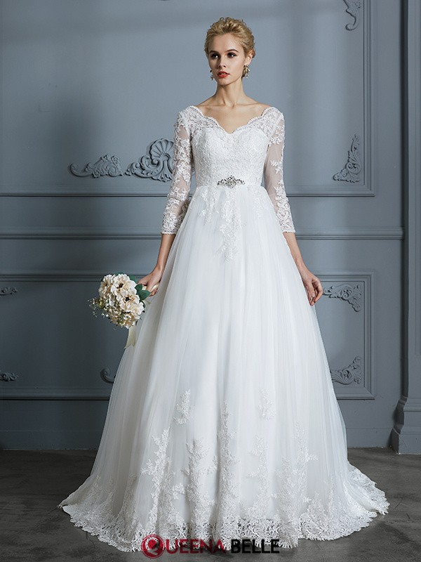 Ball Gown V-neck Tulle 3/4 Sleeves Court Train Wedding Dresses