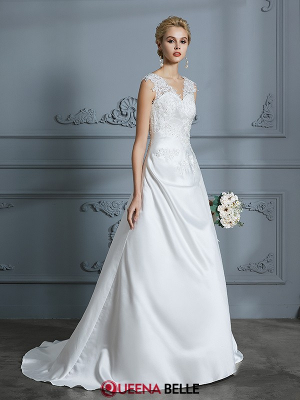 A-Line/Princess V-neck Satin Sleeveless Sweep/Brush Train Wedding Dresses