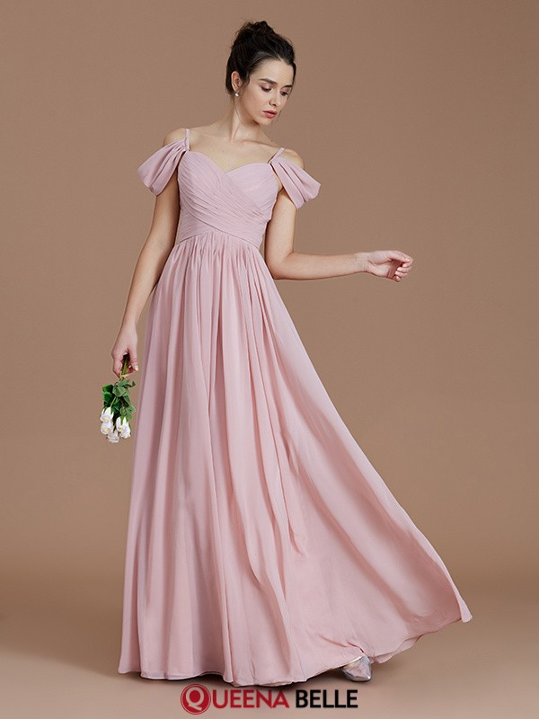 A-Line/Princess Off-the-Shoulder Chiffon Sleeveless Floor-Length Bridesmaid Dresses