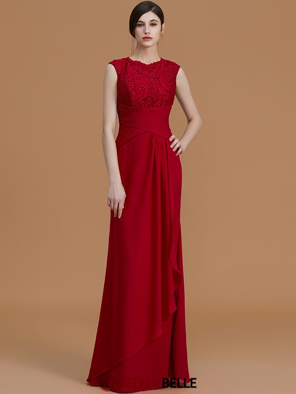 Sheath/Column Jewel Chiffon Sleeveless Floor-Length Bridesmaid Dresses
