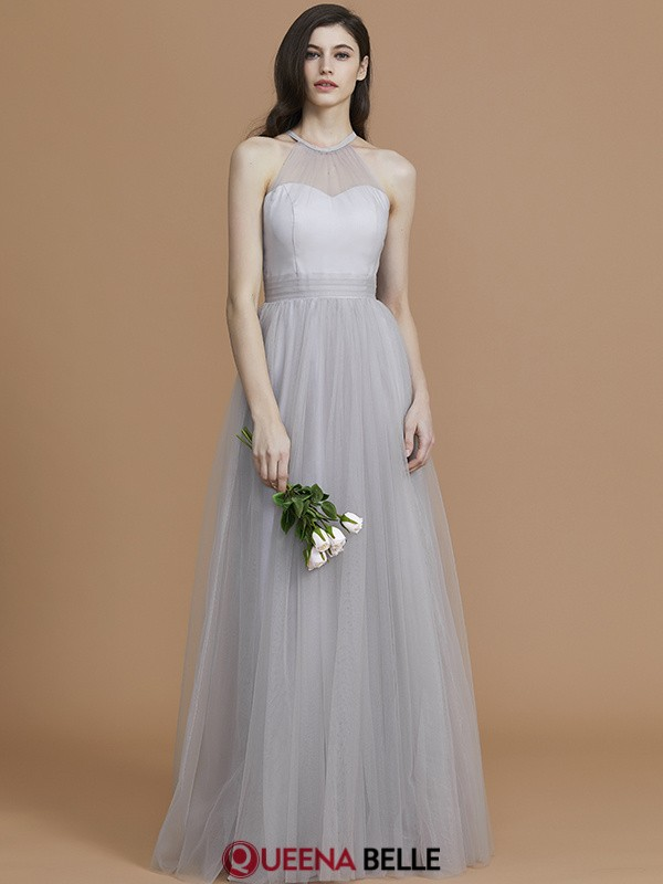 A-Line/Princess Halter Tulle Sleeveless Floor-Length Bridesmaid Dresses