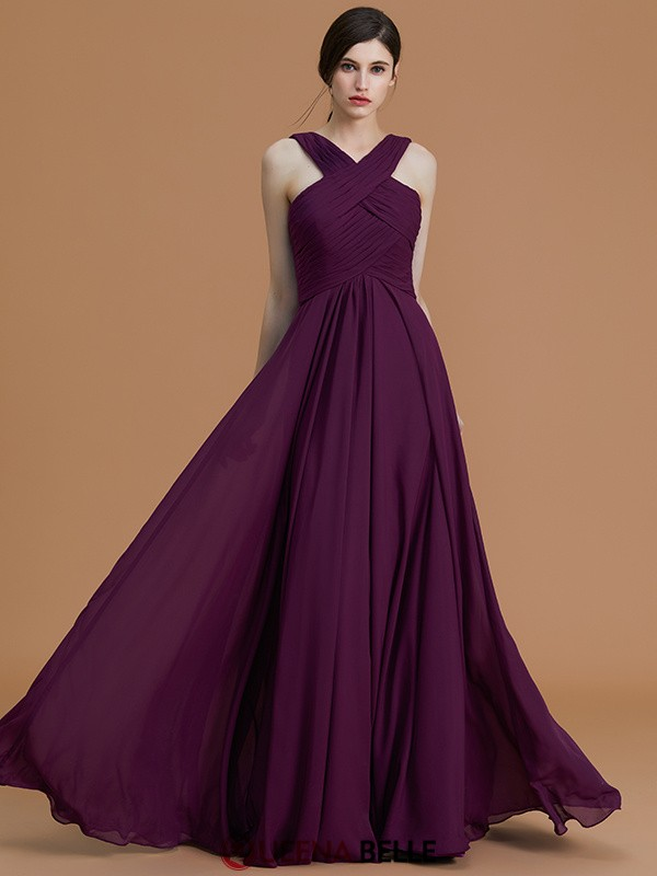 A-Line/Princess Halter Chiffon Sleeveless Floor-Length Bridesmaid Dresses