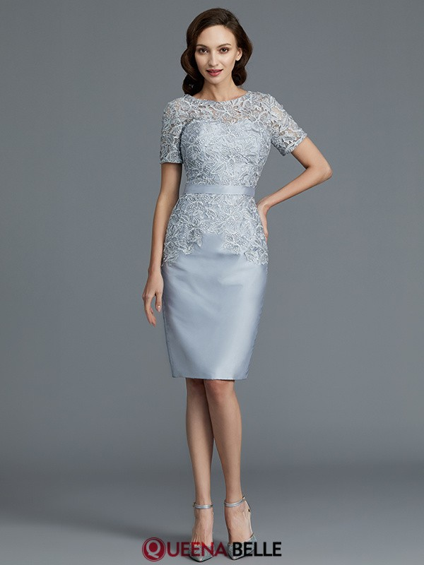 Sheath/Column Scoop Satin Short Sleeves Knee-Length Mother of the Bride Dresses