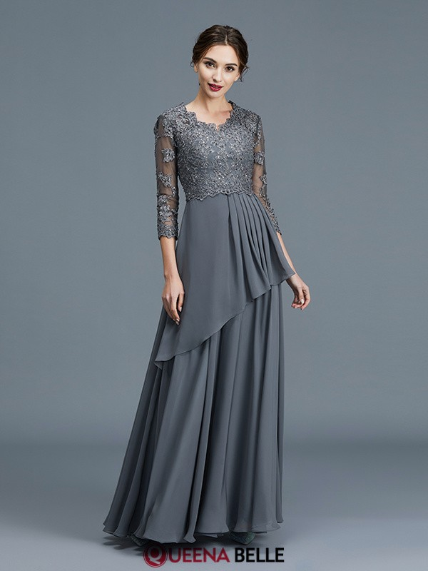 A-Line/Princess V-neck Chiffon 3/4 Sleeves Floor-Length Mother of the Bride Dresses