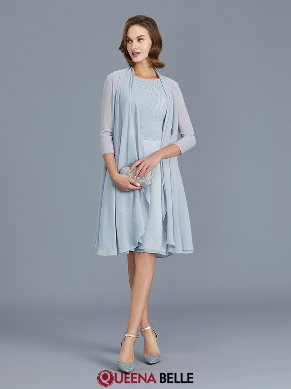 A-Line/Princess Scoop Chiffon Sleeveless Knee-Length Mother of the Bride Dresses