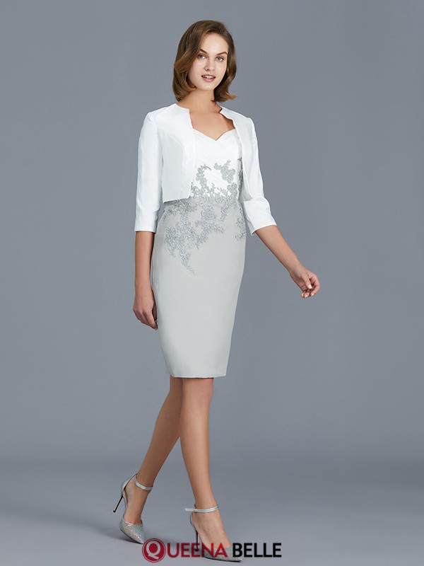 Sheath/Column V-neck Chiffon 1/2 Sleeves Knee-Length Mother of the Bride Dresses