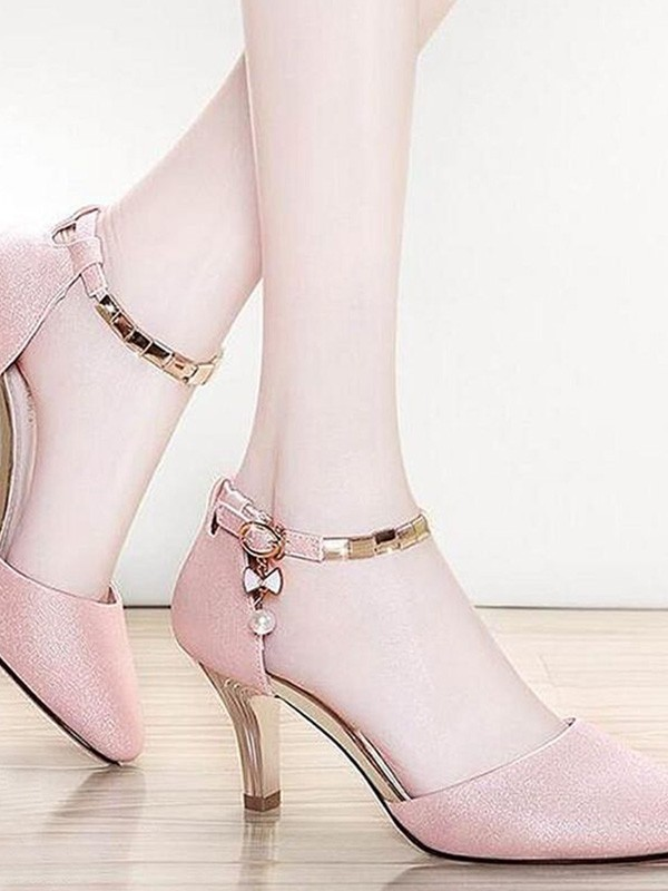 Women Leatherette Stiletto Heel Closed Toe Sandals