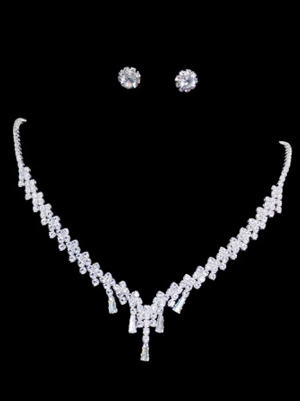 Korean Trending Rhinestone Ladies Jewelry Set