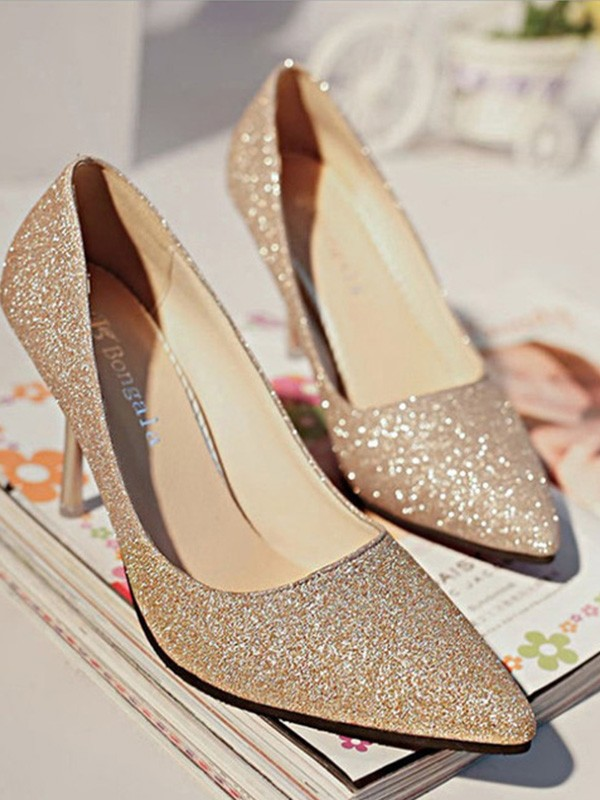 Women Sparkling Glitter Closed Toe High Heels Stiletto Heel