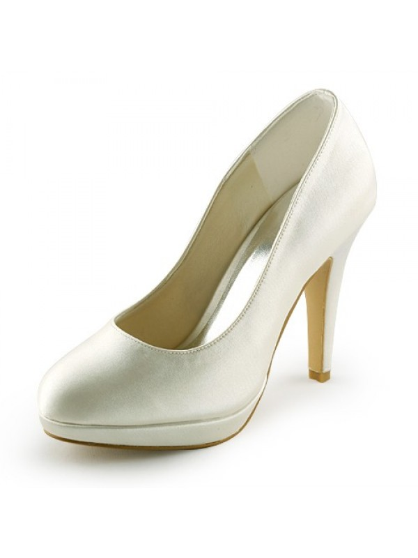 The Most Stylish Women's Beautiful Satin Stiletto Heel Closed Toe Platform Ivory Wedding Shoes