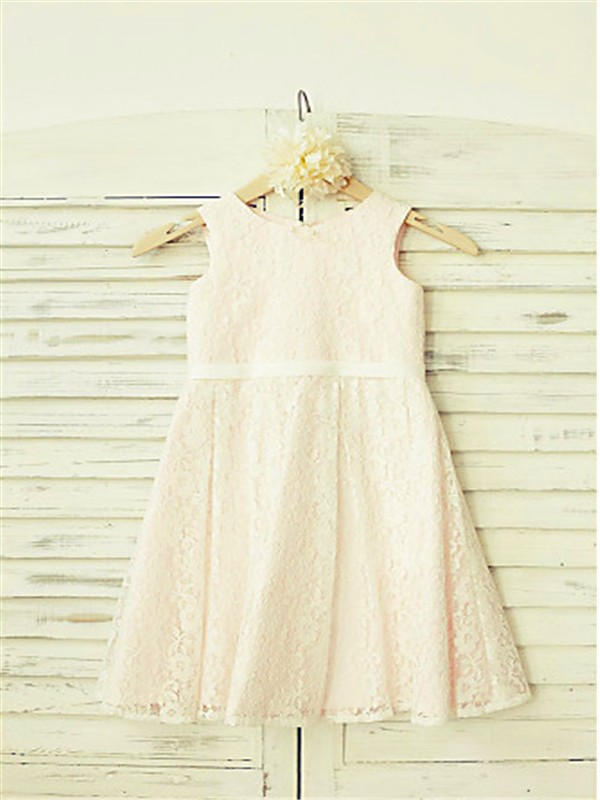 A-line/Princess Jewel Sleeveless Floor-Length Lace Flower Girl Dresses