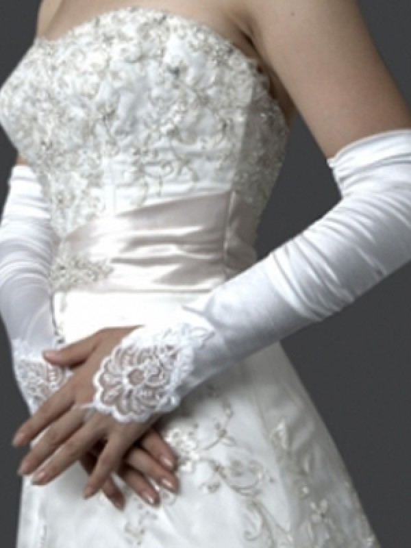 The Most Stylish Elastic Satin Embroidery Elbow Gloves